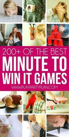 The ultimate collection of minute to win it games! Over 200 of the best games that are perfect for kids for teens for couples for adults for school for work and even for church! Everything from New Years to Halloween and tons of easy Christmas games Christmas Games For Kids, Christmas Party Games, Birthday Party Games, Party Games Group, Easy Party Games, Sleepover Games, Birthday Ideas, Easy Kid Games, Christmas Decorations With Kids