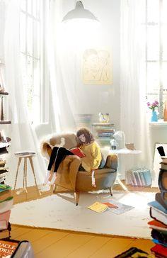 """ILLUSTRATION ET ANIMATION... """"LA LECTURE"""" Art par Kim Ji-Hyuck.."""