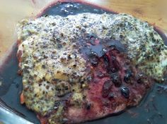 Mustard-Roasted Salmon With Lingonberry Sauce Jam Recipes, Fish Recipes, Seafood Recipes, Gourmet Recipes, Healthy Recipes, Healthy Meals, Healthy Food, Salmon And Shrimp, Roasted Salmon