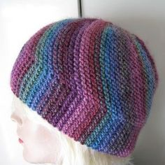 You could definitely still do this with non-variegated yarn too!--Free knitting pattern for Vertigo Hat