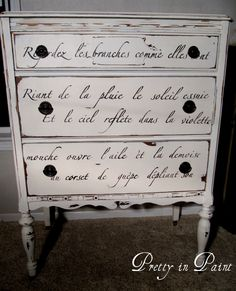 "Stenciled script dresser - bright white handpainted. Great idea for my ""new"" dresser that needs refinishing"
