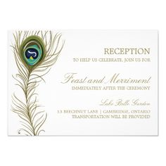 Formal Wedding Invitation RSVP Whimsical Peacock Feather Reception Card