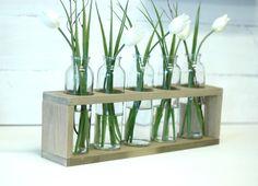 5-Bottle Centerpiece Vases Wedding by RusticaHomeDecor on Etsy