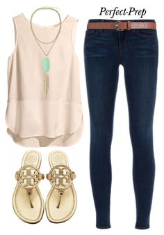 """""""Basic Prep"""" by perfectgabby ❤ liked on Polyvore featuring H&M, J Brand, Kendra Scott, Maison Boinet, Tory Burch and basic"""