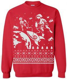3e80ef9adf Astronaut Reindeer Ugly Christmas Sweater Flex Fleece by lastearth