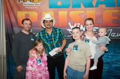 Brad Paisley concert, Charleston, WV  The kids got a chance to tell him about Socks for Vets, Heart Hugs, and Mr. Mark.  He was very nice and seemed shocked that Lorelei was living and breathing.  She thought he was cool because he's the same height as Daddy. :)