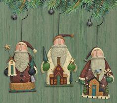 Santa's House Folk Art Ornament Set Of Three Williraye Studio