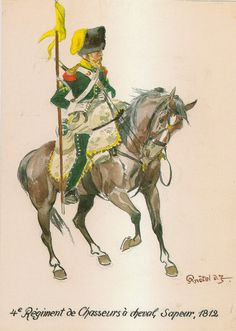 Chasseurs a cheval, sapper, 1812 French Army, Military Art, Military Uniforms, Napoleonic Wars, Kaiser, Moose Art, Illustration Art, Animals, Franz
