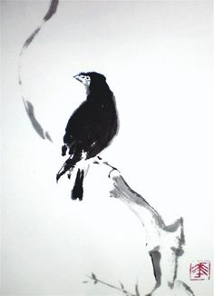 "ARTFINDER: ""Blackbird""  by Laura Grandinetti - This is a sumie work realized with india ink on rice paper. Sometimes I like to use the india ink...the pure simplicity of this technique is for me unique an..."