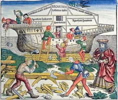 Michael Wolgemut:The Building of Noahs Ark, from the Nuremberg Chronicle by Hartmann Schedel, 1493