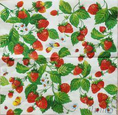 Купить салфетки декупаж садовая клубничка - разноцветный, салфетки декупажные, клубника клубничка, клубничная поляна