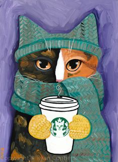 Keep Warm Calico Cat And Latte Original Folk Art Acrylic Painting Keep Warm Calico Cat And Latte Original Folk Art Acrylic Painting By Kilkennycat Art 85 00 Usd Copyright Ryan Conners Folk Art Acrylic Paint, Acrylic Painting Animals, Illustrations, Illustration Art, Frida Art, Photo Chat, Cat Drawing, Whimsical Art, Keep Warm