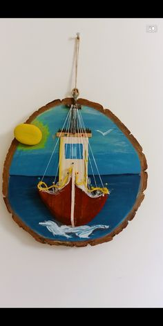 Nautical Wall Decor, Nautical Art, Driftwood Crafts, Diy Deck, Hand Painted Furniture, Wood Slices, Wooden Spoons, Painting On Wood, Wood Art