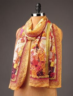 Buy Yellow Orange Damask Habutai Silk Stole Accessories Scarves & Stoles Online at Jaypore.com