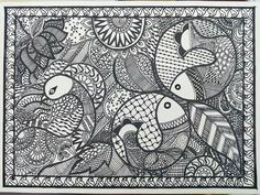 madhubani paintings in black and white Mural Painting, Fabric Painting, Traditional Paintings, Traditional Art, Kalamkari Painting, Madhubani Art, Indian Folk Art, Indian Art Paintings, Madhubani Painting