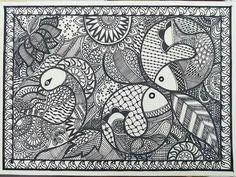 Madhubani: Peacock and fish together