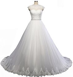 Ever Girl Womens Cap Sleeve Lace Appliques Sweep Tulle Bride Wedding Dresses White US20 * You can find more details by visiting the image link.