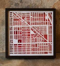 Chicago - Wicker Park Laser Cut Map