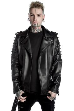 As Above Biker Jacket [B] | KILLSTAR The 'As Above' biker comes in a modern constructed fit in a soft faux leather; all black hardware and sleeve accent studs, zipped front + pockets, belted and fully lined.