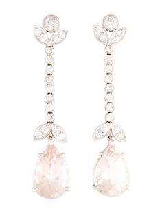 18K Rose Quartz & Diamond Drop Earrings