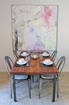Yvonne's Industrial Dining Table Statement art transforms an entire room. Love this industrial table from Table And Chairs, Dining Table, Dining Rooms, Dining Set, Kitchen Tables, Small Dining, Wood Table, Le Logis, Masculine Interior