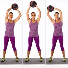 Stand with your feet hip-width distance apart with a slight bend in your knees. Keeping your spine in neutral, lift a five- to eight-pound medicine ball overhead. Begin to circle the ball to the right, in the largest circles you can make, while maintaining a still and stable torso. Circle eight times to the right; then repeat, circling eight times to the left. This completes one set.
