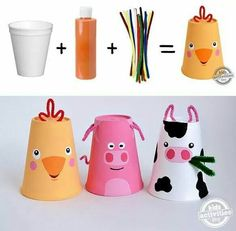 Farm animal cup craft