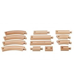 EverEarth - 13 Piece Expansion Train Track: All EverEarth train products are 100% compatible with Brio, Big Jigs, Tidlo, Thomas and ELC. This 13 Piece Wooden Expansion Train Track Set allows an existing rail network to be extended and adapted for your child's play session. Contains 13 pieces and is designed to develop hand and eye coordination and encourage imaginative play. #alltotstreasures #everearth #13pieceexpansiontraintrack #woodentoys #traintrack