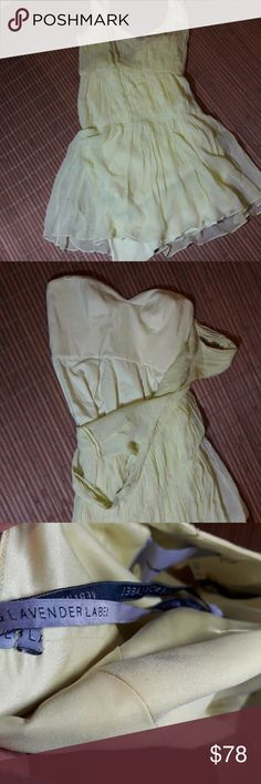 Vera Wang dress lavender label very delicate yellowish cocktail dress for the petite says size 6 Vera Wang Dresses