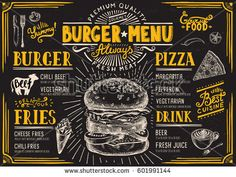 Burger food menu. Creative and modern food menu templates for your restaurant business. More #food #menu for your #restaurant you can download here ➝ http://www.shutterstock.com/g/Marchie?rid=1166783