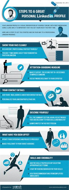 6 Steps to a Great Personal LinkedIn Profile – An Infographic - solomoIT Academy #linkedin #SEO #LocalSearch #SearchEngineOptimization #Google #GoogleSEO
