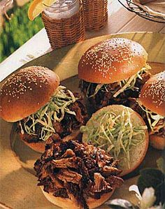 Carolina Pulled Pork Sandwiches.....best pulled pork in the whole wide world from Bon Appetit July 1999