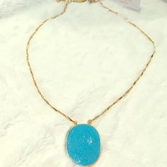 """NWT Kate spade Pave the Way turquoise/gld necklace Condition: New with Tags and Kate Spade jewelry pouch  Measures approximately: 24"""" Long plus a 3"""" extender  Pendant measures approximately: 2"""" long by 1 3/8"""" wide  The necklace has a goldtone rod chain that leads to a large turquoise blue oval medallion pendant paved in crystals. It is from the Pave The Way collection. Retail $128. kate spade Jewelry Necklaces"""