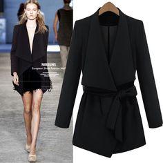 New Style Turndown Collar Long Sleeve Black Trench