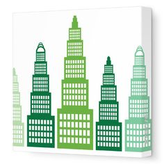 Avalisa Imaginations Skyscraper Stretched Canvas Art Color: Green, Size: H x W Art Wall Kids, Canvas Wall Art, Canvas Prints, Pretty Kids, Nursery Design, Contemporary Decor, Kids Furniture, Projects For Kids, All Modern