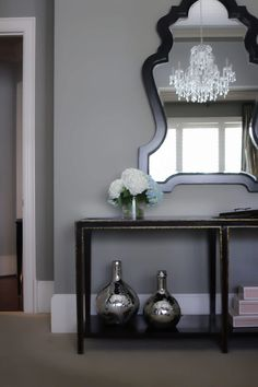 Create a designer bedroom look for less! Benjamin Moore gray paint walls.
