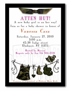 Camouflage Military Baby Shower Invitation!