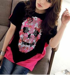 Skull Rose And Black Colorblocked Tee