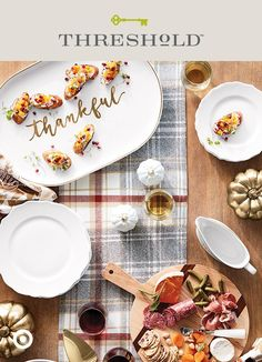 Gathering friends and family around a table is one of the best things about the season—and a great way to share your thanks and show off your style. Start with a plaid runner and add some pumpkin decor. Bonus points for mingling materials like ceramic, metal, and wood serveware. Then consider the scene set for sharing big tales and tasty treats. Threshold, only at Target.