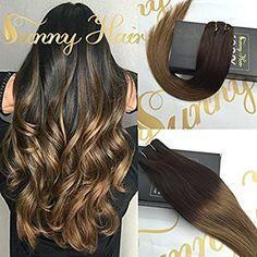 Sunny 20 Zoll/50cm Extensions Clip in Echthaar Ombre Echte Haare Remy Glatt Clip in Echthaar Haarverlangerung 120gramm/set  http://amzn.to/2r1CSXb