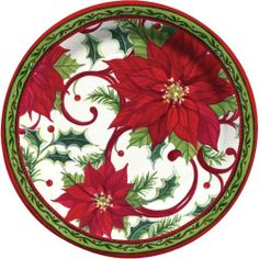 C.R. Gibson Decorated Paper Plates, 10.5-Inch, 8-Pack, Joyful Poinsettia by C.R. Gibson. $6.00. Sally eckman roberts brings you a classic floral holiday design featuring holly, pine, and bright, beautiful poinsettia blooms. Deluxe paper plates with raised sides for less mess. Dinner plates are 10.5-inch diameter, look for matching napkins and luncheon plates. Since 1870 families have trusted c.r. gibson to make special occasions memorable and fun. Pack-8 dinner size paper plates...