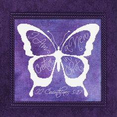 New Creation Butterfly II Corinthians White Floss Bible Art, Bible Verses, Scriptures, Book Art, New Creation In Christ, Scripture Canvas, Butterfly Wallpaper, All Things Purple, Cross Stitch Designs