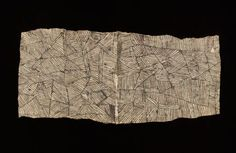 barkcloth pongo - pounded bark painted with gardenia dte & charcoal - mbuti, dr congo.