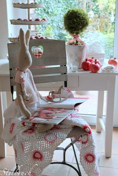 Stilbruch...cute bunny...and that crochet blankie...love it all... <3