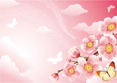 Free flower background vector with cherry blossoms. There are some butterflies and clouds in the sky. This pink floral background is excellent for beauty, skin care, spring and similar designs giving a soft and light feeling. Pink Floral Background, Cherry Blossom Background, Vector Background, Background Images, Cherry Blossom Vector, Cherry Blossoms, Nature Vector, Butterfly Drawing, Butterfly Pictures