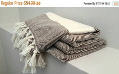ON SALE Herringbone Cotton blanket  Brown blanket by CottonMood