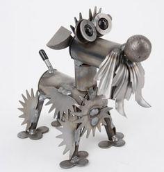 Metal Schnauzer Dog Sculpture