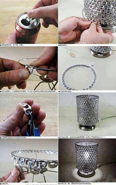 DIY Lamp with Soda can tops~ So cool!!