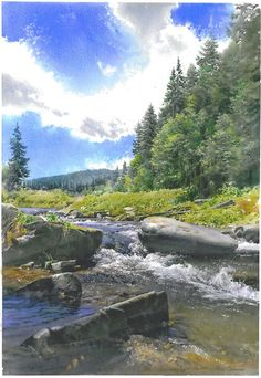 Gorgeous watercolor painting of a stream with rocks, trees, and a dynamic sky by artist Michal Suffczynski Watercolor Water, Watercolor Trees, Watercolor Artists, Watercolor Drawing, Gouache Painting, Watercolor Landscape, Watercolor Paintings, Landscape Drawings, City Landscape