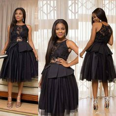 ae92253af146 Little Black Dress 2018 Aso Ebi Style Peplum Short Prom Dresses Lace  Seuqins Tulle Jewel Neck Knee-length Evening Formal Cocktail Gown